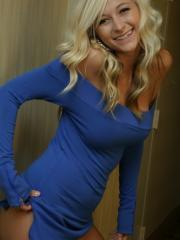 Blonde babe London Hart teases in her blue dress