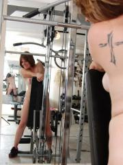Curvy girl Misty strips naked in the gym as cools off from her workout