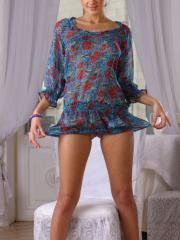 Brunette teen Masha E shows you what she has under her dress