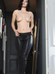 Summer St Claire gives you a striptease in her leather pants
