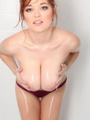 Stunning redhead Tessa Fowler invites you to join her for a shower