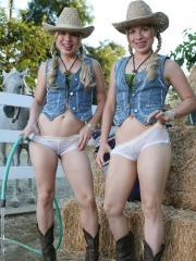 The Texas Twins get their panties all wet for you