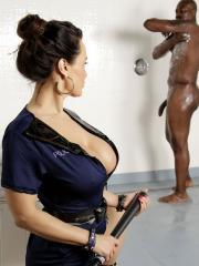Busty prison guard Lisa Ann gets fucked in the shower