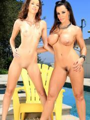 Lisa Ann and Belle Knox strip each other naked by the pool