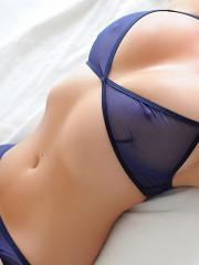 Melissa Debling strips off her sheer blue bra to reveal her amazing boobs