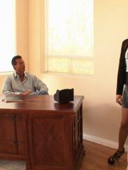 Teal Conrad and Tory Lane fuck their boss in his office