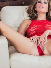 Horny girl Vicky Burns teases and masturbates in her red hot lingerie