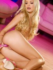 Franziska Facella plays with a pink a dildo
