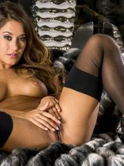 Hot girl Eva Lovia is on a couch fingering herself until she's satisfied