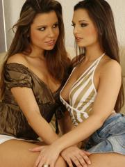 Eve Angel and Peaches get together on the couch for some wild lesbian fun