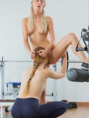 Alexis Crystal and Uma get horny during their workout and decide to eat each other out