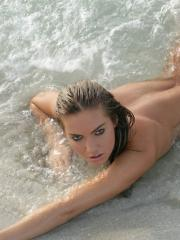"Super hot blonde girl Veronika goes swimming naked in the ocean in ""Playa"""