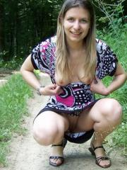 Pictures of a hot amateur woman flashing in public