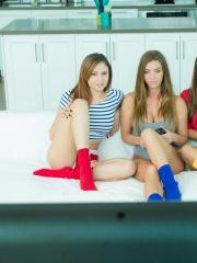 Hot teens Ariana Marie, Abigail Mac and Niki Skyler enjoy some hot lesbian gaming