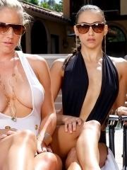Pictures of three hot lesbian girls playing with each other poolside