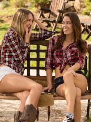 Hot country girls Kenna and Madi pleasure each other on the farm