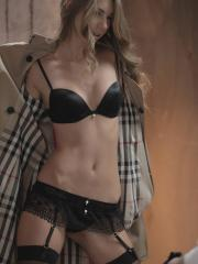 Gorgeous blonde Angelica puts on her black lingerie to enjoy some hot sex