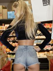 Blonde cutie Nola Barry gets naughty at a super market